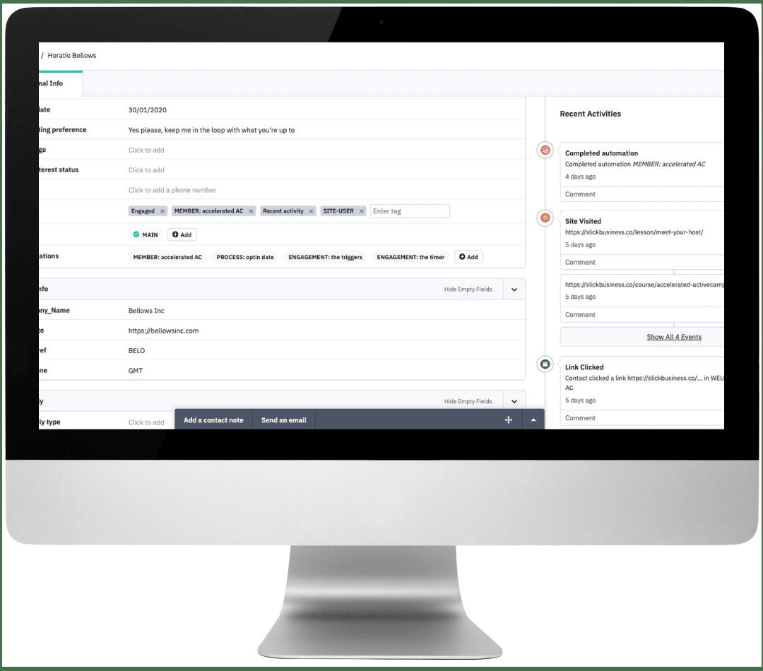 ActiveCampaign contact edit screen